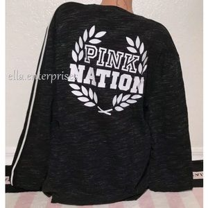 VS Pink Black Marl White PINK Nation College Crew